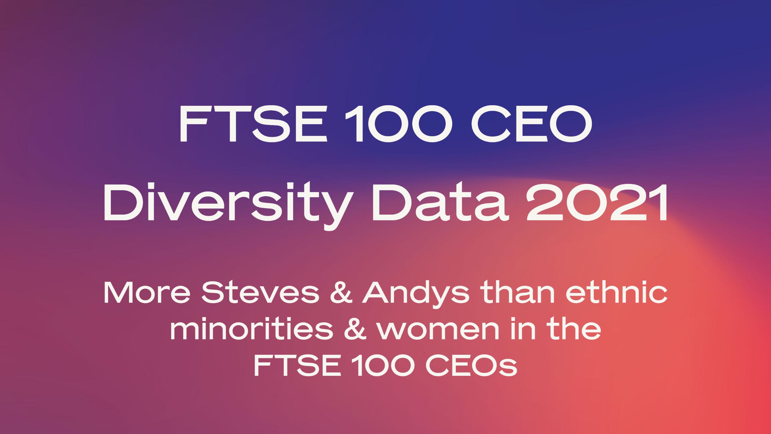 FTSE 100 CEO Diversity Data 2021